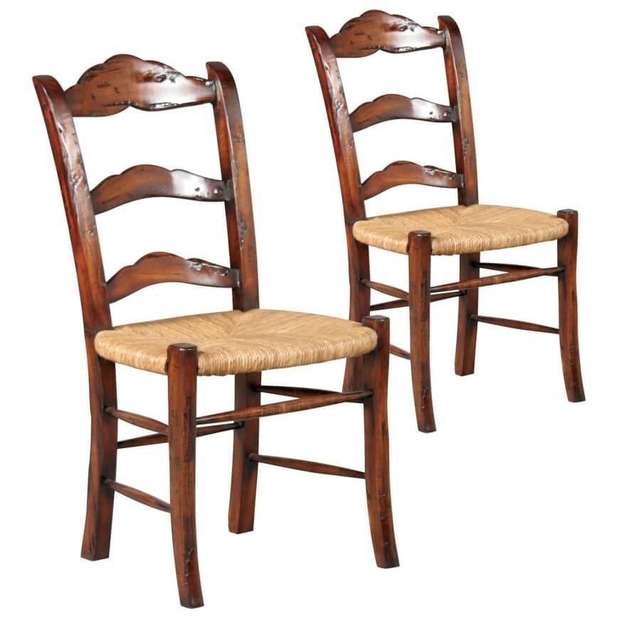 трапезен стол с плетена седалка