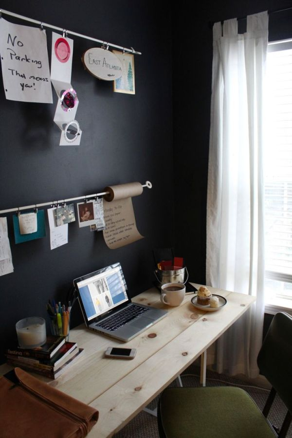 black-wall-office-room